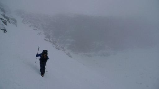 Heading towards a very wet and black Far East Wall, Ben Eighe