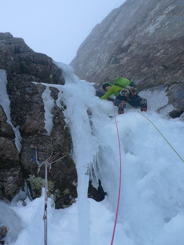 Kev enjoying great ice on the crux second pitch of Vanishing Gully, Ben Nevis.