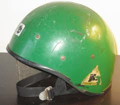 Joe Brown Climbing Helmet - a heavy mix of fibreglass, foam and plastic. Things have moved on bit since these. Weighing 650 grams it wasn't the lightest either! The Black Diamond Vector at 231grams, represents a weight saving of over 400 grams!