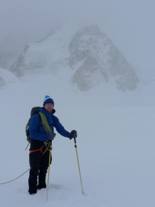 Arc'teryx Gamma Guide Pant. Heading back across the glacier after climbing on the East Face of Mt Blanc du Tacul. Coping nicely with the wild weather!