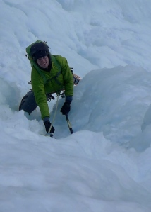 Ice climbing in Cogne...helmet obligatory! Black Diamond Vector Helmet worn under a hood.