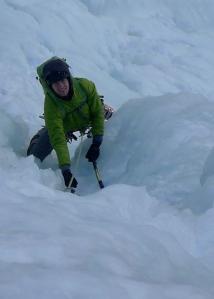 Ice climbing in Cogne...helmet obligatory! Black Diamond Vector Helmet worn under a hood.