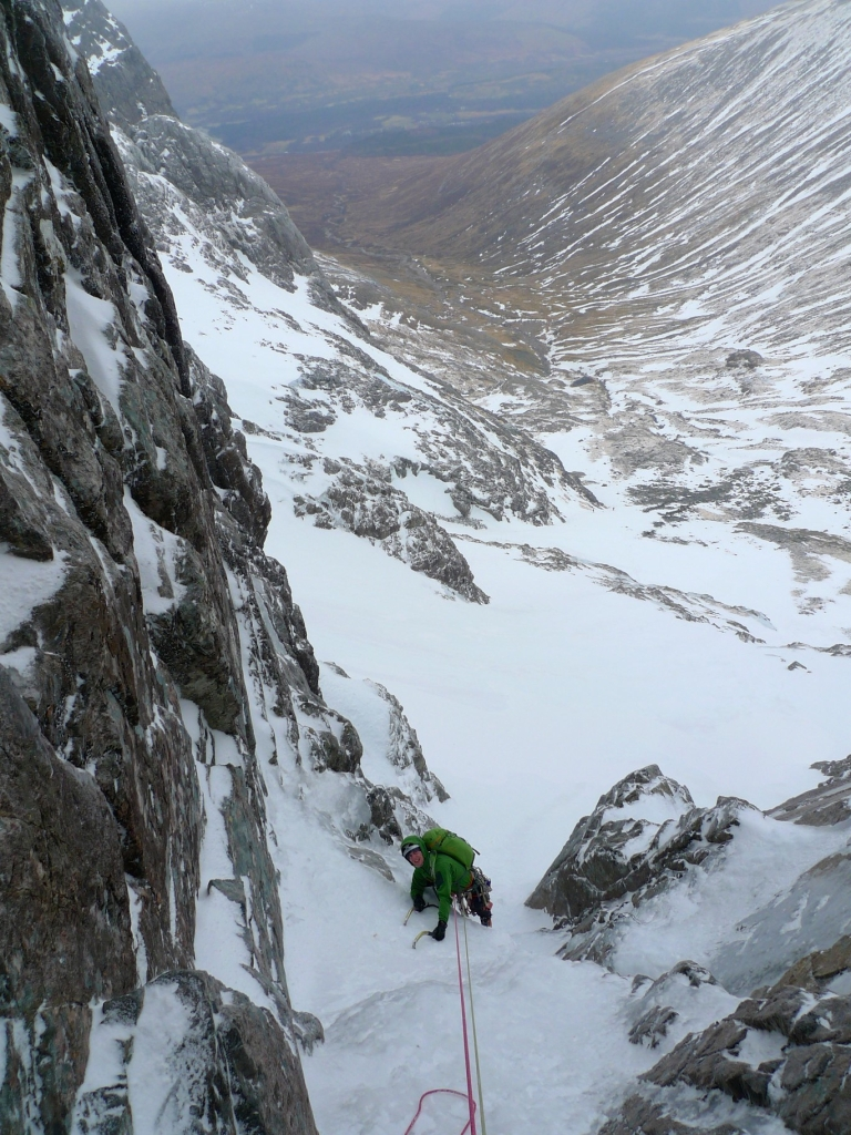 Following the first pitch of Minus 1 Gully, Ben Nevis.
