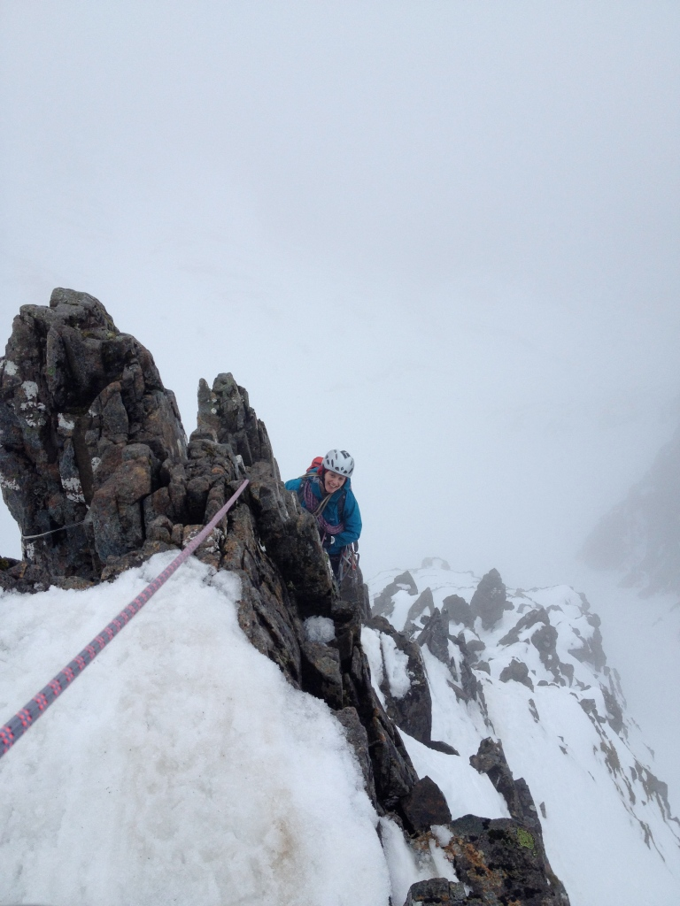 Kasia nearing the top of Dorsal Arete, Stob Coire Nan Lochan, Glencoe.