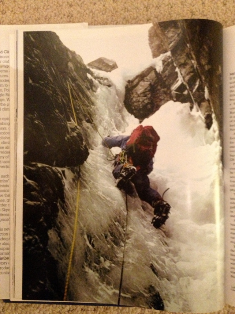 Mick Fowler's classic image of Tony Saunders approaching the crux overhang on pitch 2 of Minus 1 Gully, Ben Nevis.