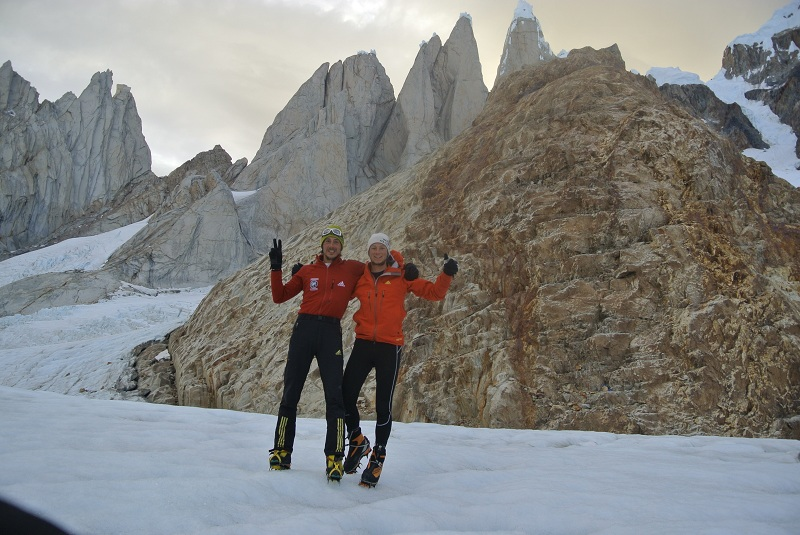 M. Della Bordella and Luca Schiera after the first ascent ever of the West Face