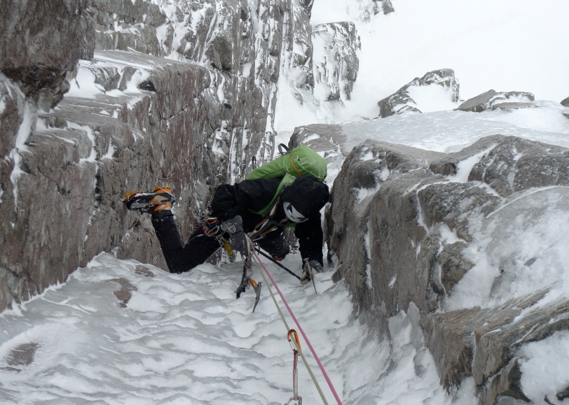 Rich Allen following the crux second pitch of Minus 1 Gully, Ben Nevis