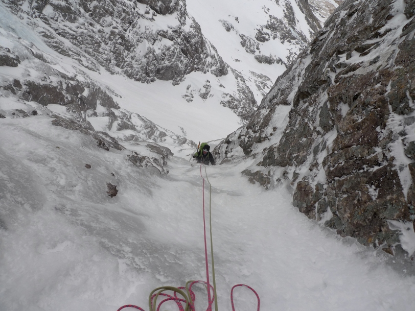 Rich Allen following on thin ice. Pitch 4 of Minus 1 Gully, Ben Nevis.