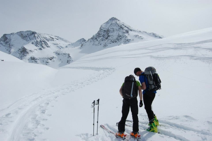 A quick navigation stop! The Arc'teryx Quintic 38 in use whilst ski touring in the Vanoise National Park.
