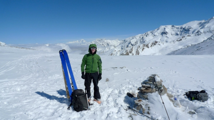 At the Col d'Aussois on the way to Refuge Dent Parachee. The Arc'teryx Quintic 38 is perfect for hut to hut ski tours.