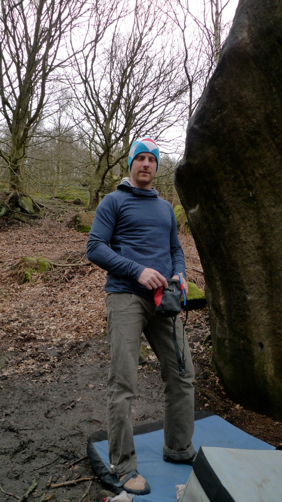 James Parkinson sporting the Arc'teryx Quiq Hoody whilst out bouldering at Caley Crag.