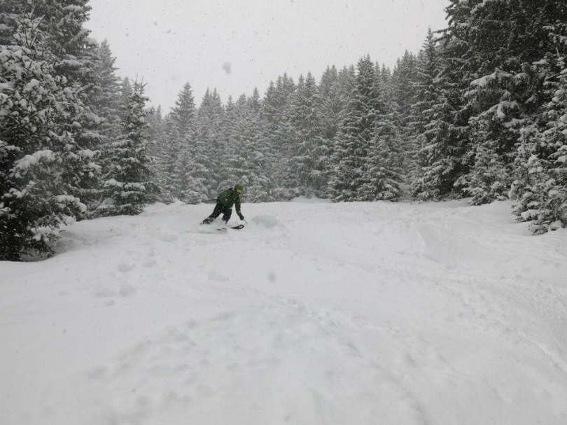 The Arc'teryx Quintic 38 carried well whilst skiing and felt nicely balanced on my back. Here it's put through it's paces carrying a full load and skiing great powder in the trees on a descent into Courchevel at the end of a great few days touring.