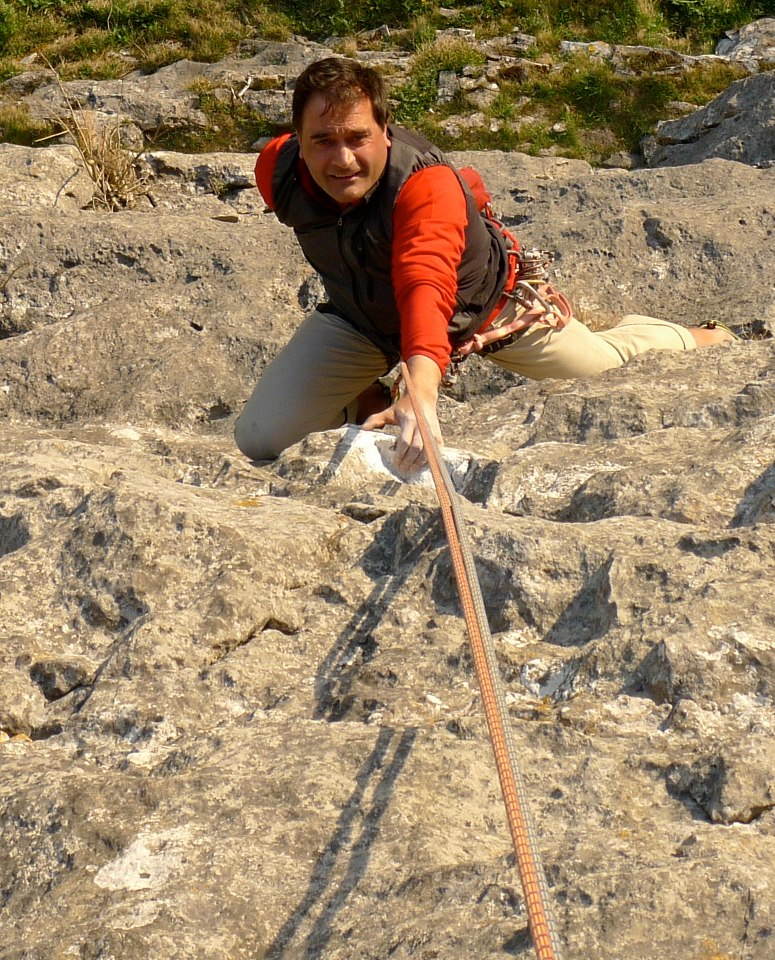 the adidas hybrid soft shel vest had great frredom of movement for climbing in. Wind and Wuthering, Malham Cove
