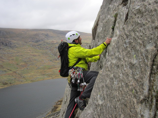 The good climbing sole offers confidence. Climbing on a a very polished Milestone Buttress, N.Wales.