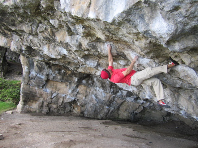 The Red Chili Nachos performed well on steep limestone. Parisellas Cave, Pen Trywn.