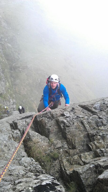 James testing how the pack carries whilst climbing. Botterill's Slab, Scafell Crag.