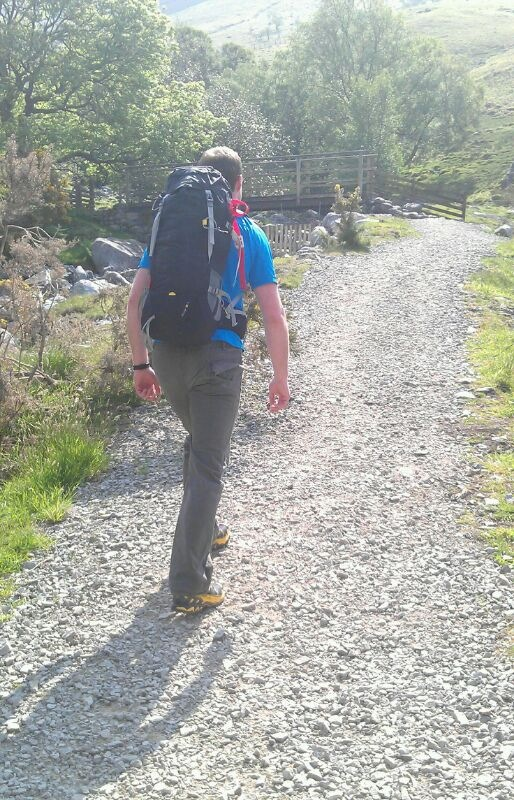 The Salewa Miage 35 pack is a good all round mountaineering pack and just as happy out cragging in the UK as it is on alpine ski tours. Seen here on the a crag approach in the Lake District.