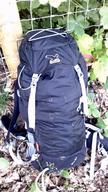 Salewa Miage 35 pack, fully loaded for winter climbing.