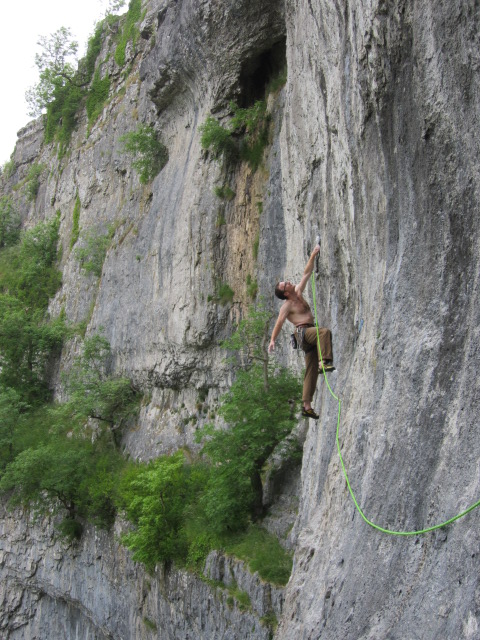 The Millet Absolute TRX was perfect for long sport routes - Kev working out on Free and easy in prep for his epic Totally Free ascent.