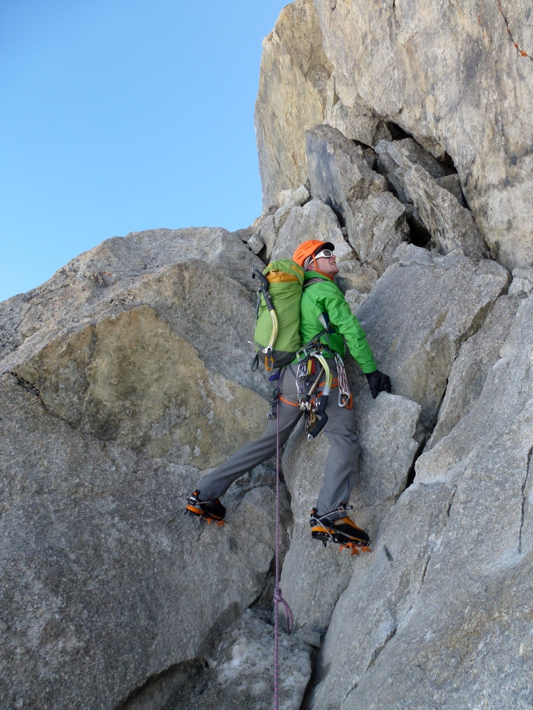 Heading up to the SW face of Dent Du Geant wearing the Patagonia Torrentshell Stretch Jacket.
