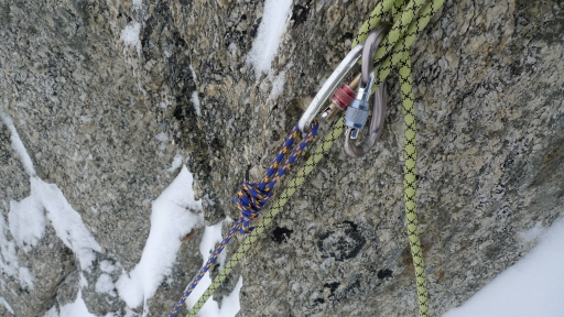 Edelrid Swift, set up for abseiling using a pull line, descending Pinnochio on Mt Blanc du Tacul's East Face.