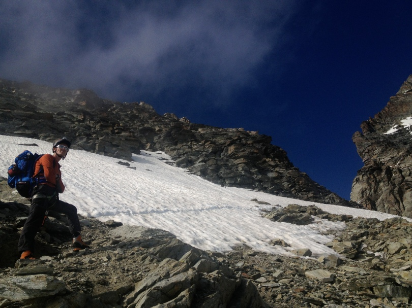 The Millet Peuterey 35+10 Pack almost at the shoulder before the Carrel hut on the Matterhorn's Lion Ridge.