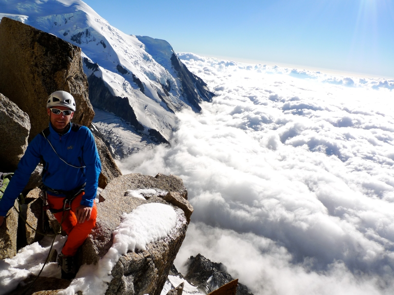 Millet Denali Jacket - light, breathable, flexible...perfect for moving quick in the mountains. James tests his on the Cosmiques Arete, Chamonix.