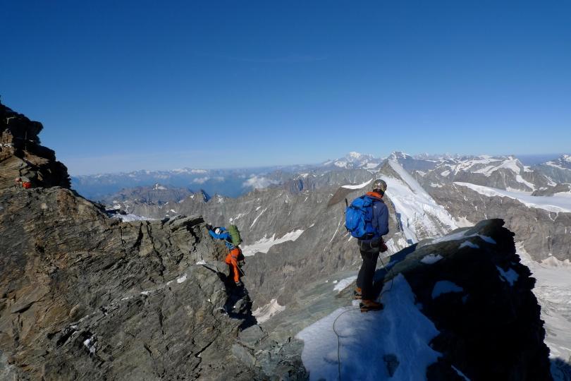 Pete Chadwick testing his Millet Peuterey 35+10 Pack on the Matterhorn's Lion Ridge.