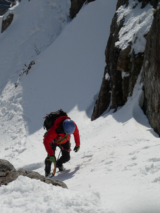 The Nabu jacket was breathable on warm approaches. heading up to Crowberry Gully - Buachaille Etive Mor