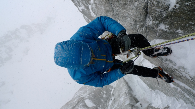 A full on belay parka is warm and seals out the elements.
