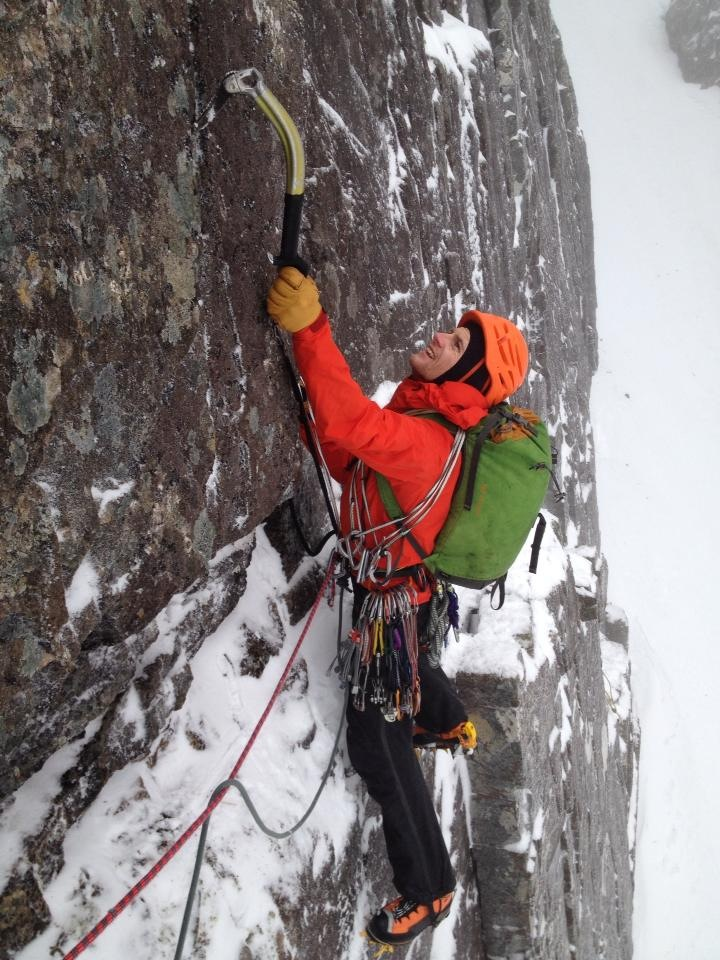 Jöttnar Vanir Salopette - great for technical mixed climbing such as that found on Gargoyle Wall, Ben Nevis