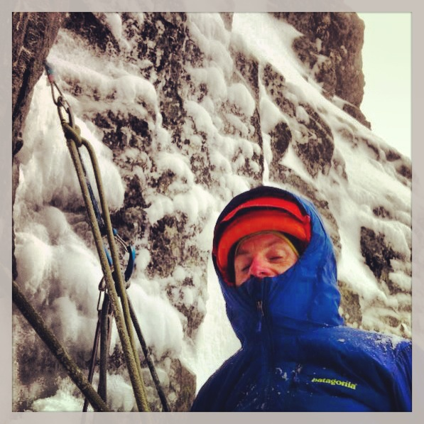 A brief interlude in the spindrift on Lost The Place, Ben Nevis.