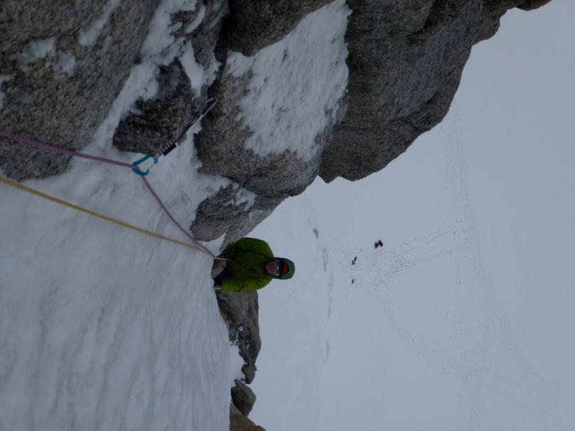 The Edelrid 19G Quickdraw doing its job on a classic Chamonix ice climb.