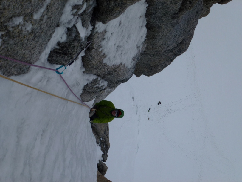 The Edelrid 19G Quickdraw doing its job on a classic Chamonix ice climb.