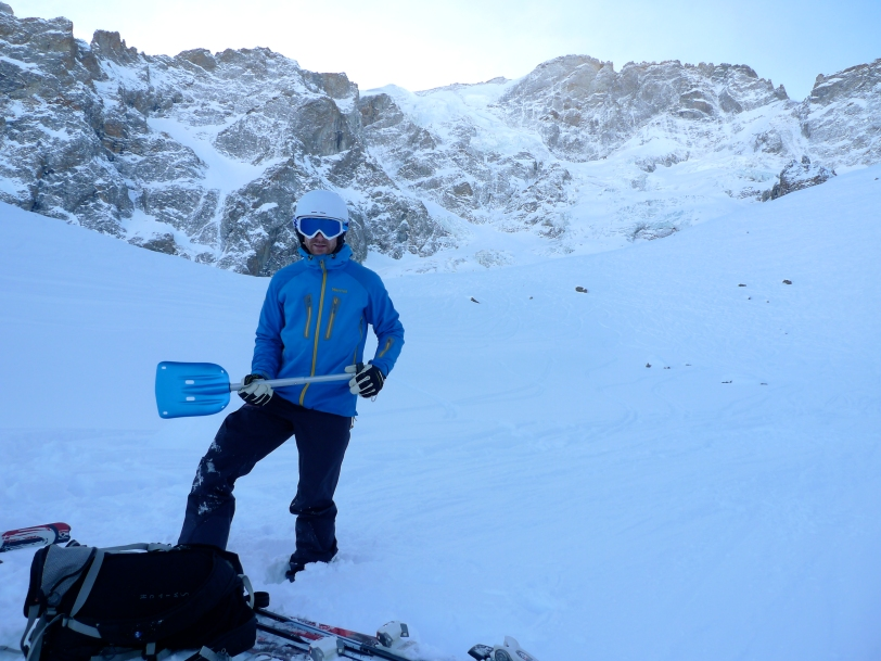 James Parkinson with the Mammut Alugator Shovel in the off piste ski heaven of the Vallons De La Meije, La Grave, France.
