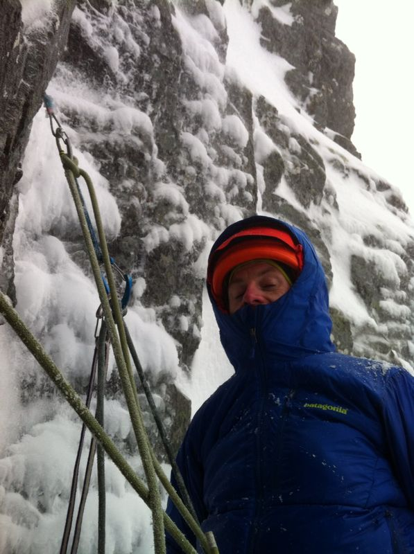 The Patagonia DAS Parka in action on a belay stint in Scotland.
