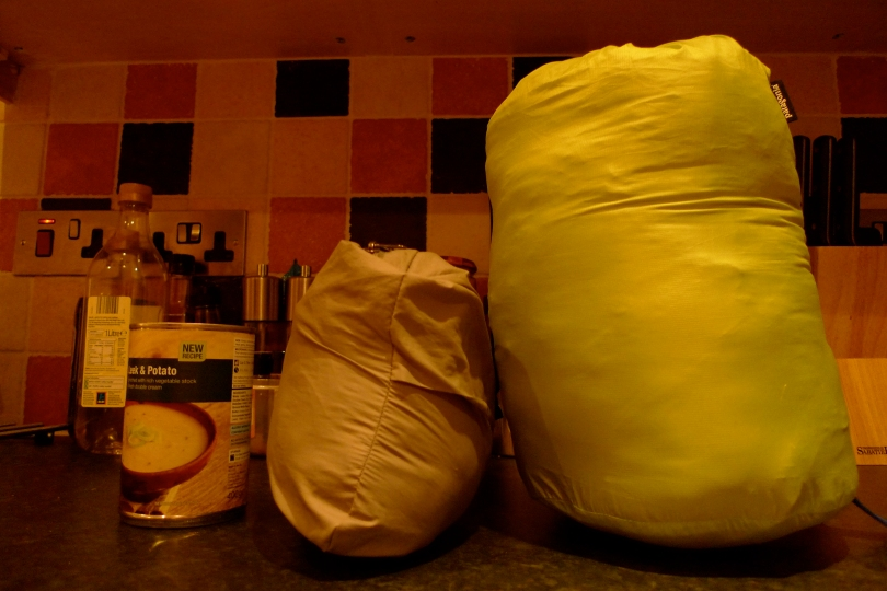 A stuffed size comparison. The DAS is on the right, the Patania Nano Puff is in the middle and the 400g soup can gives things perspective. The DAS comes with a big stuff sack but will fit in a smaller one. I used a roll top dry bag for mine.