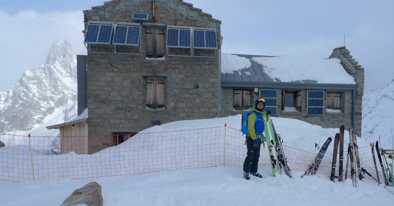 The North Face Kichatna Bibs coupled with the Kichatna Jacket offer great weather protection for ski mountaineering. Here Kev gets ready to ski off from the Requin Hut, Chamonix.