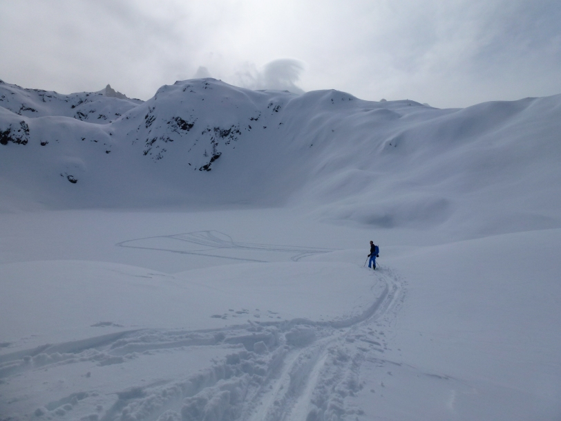 Using the Haglöfs VOJD 18 ABS Ski Pack on a day tour in the Aiguilles Rouges, France.