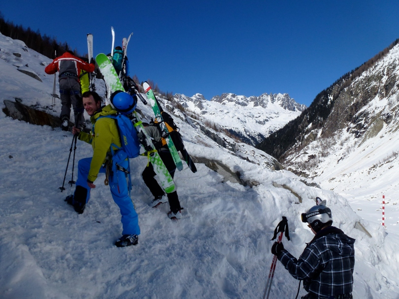 Haglöfs VOJD 18 ABS Ski Pack - carrying skis on the short bootpack at the end of the Vallee Blanche.