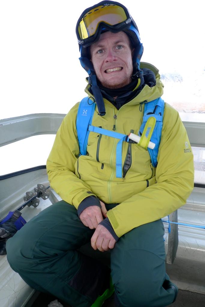 Haglöfs VOJD 18 ABS Ski Pack - release handle on the left shoulder strap (secured whilst on the ski lift).