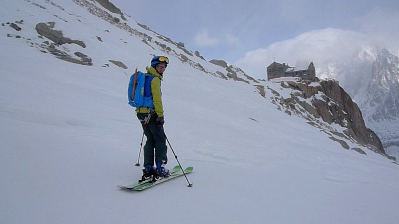 Outside the Requin Hut after skiing the classic Grand Envers route from the Aiguille du Midi, France.