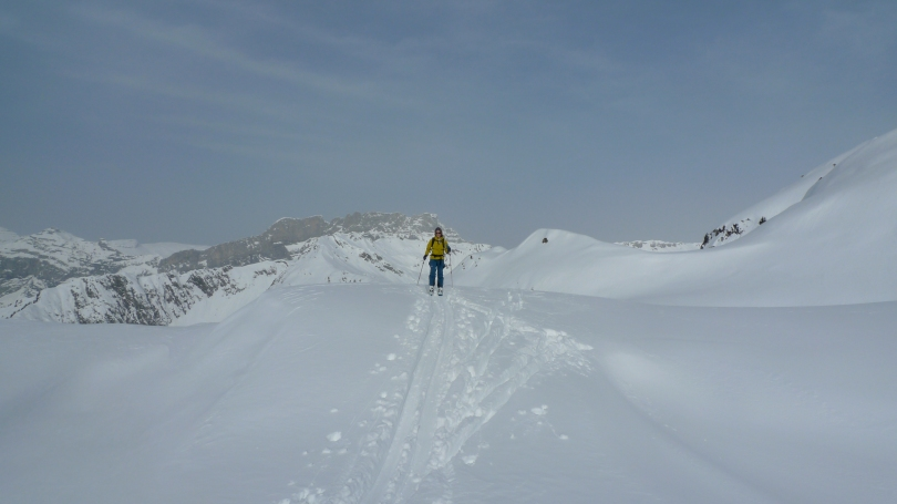 Kasia using The North Face Women's Alloy Jacket whilst ski touring in the Aiguille Rouges, Chamonix.