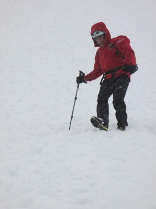 The deep lugs helped when descending steep snow.