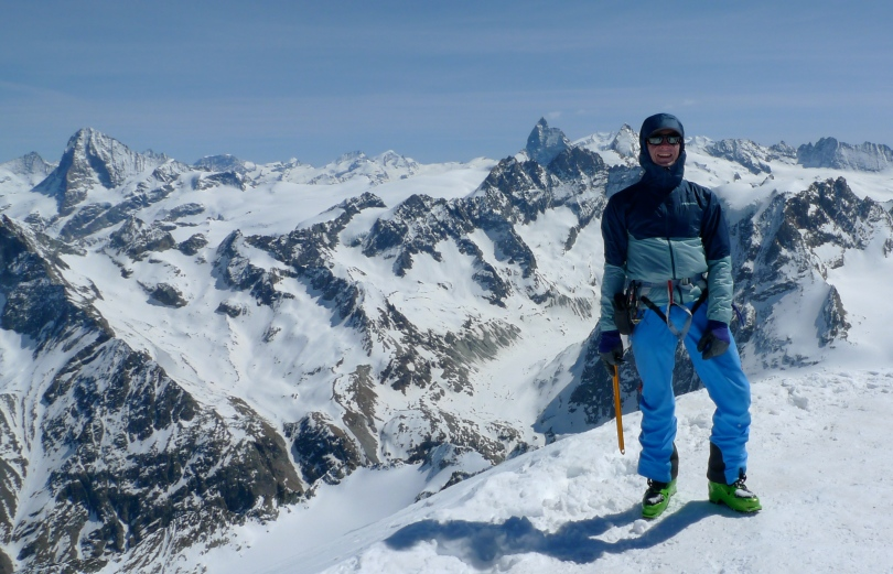 Haglöfs Rando Flex Pant - great ski touring trousers. Here in use on a sunny but cold day on the summit of Pigne D'Arolla, Switzerland.