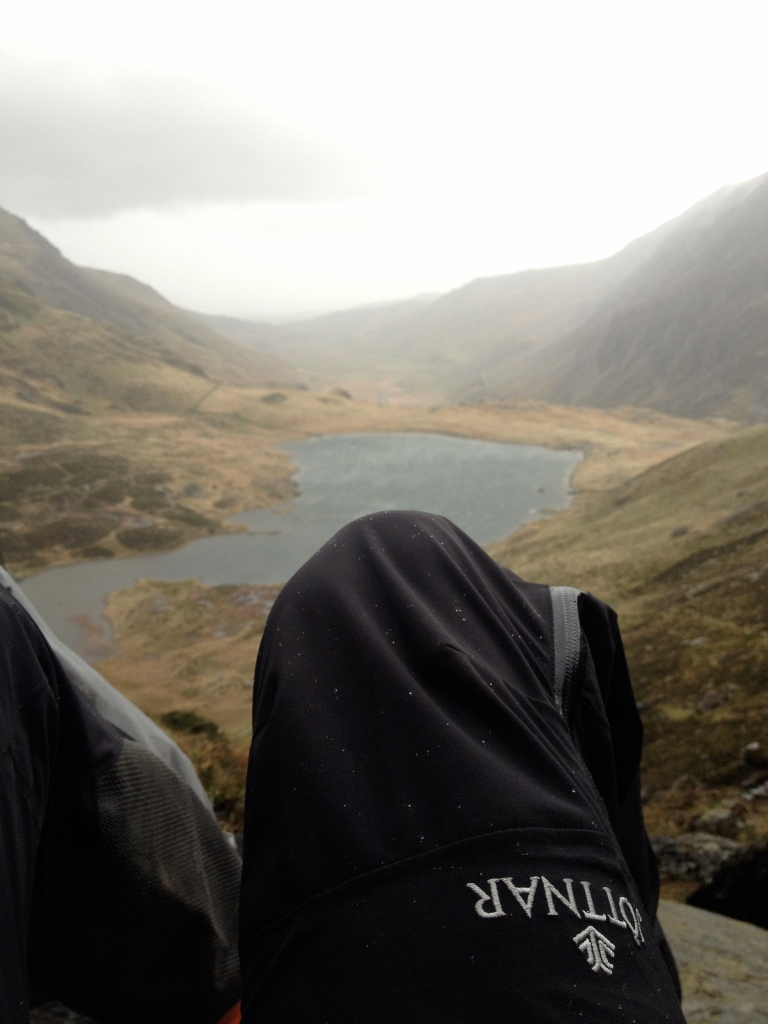 Jöttnar Vanir Salopette - great protection from the rain. Here seen used on some technical scrambles on the Idwal Slabs, North Wales.