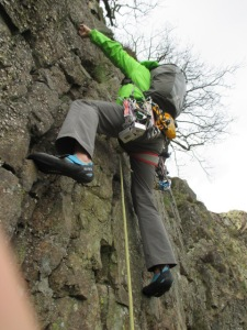 A small pack is unobtrusive when multi pitch climbing.