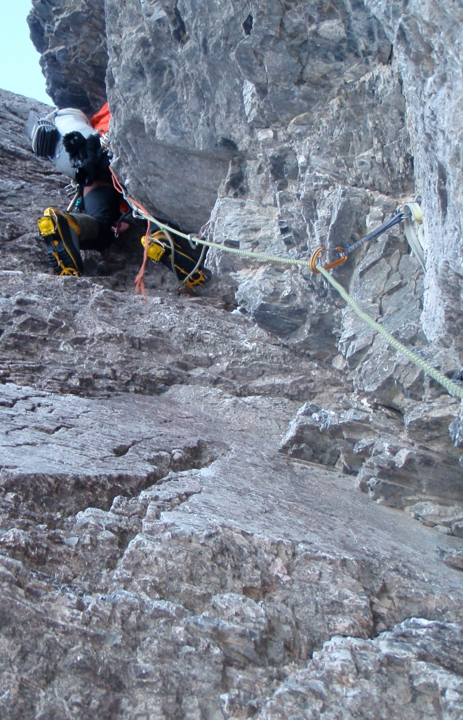 Patagonia Ascensionist 25 Pack - tough enough to deal with thrutchy corners and chimneys and streamlined so it doesn't get in the way. Here on the Waterfall Pitch, 1938 Route, North Face of the Eiger.