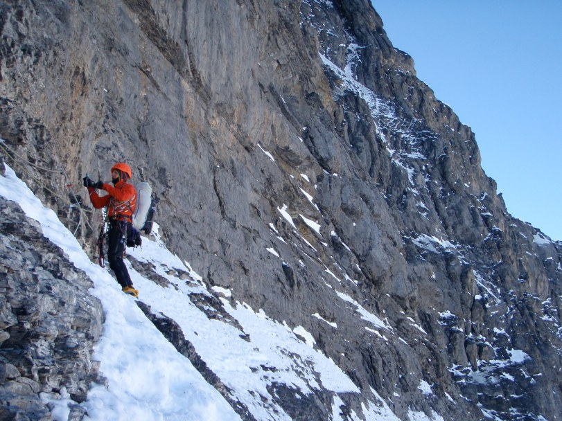 Patagonia Ascensionist 25 Pack - allows you to carry all you need but move unhindered. Here in use on the Traverse of the Gods, 1938 Route, Eiger North Face.