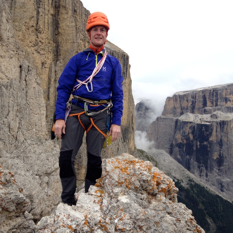 Haglöfs Roc Lite Pull - light enough and tough enough for tecjnical rock routes. Here in use on the Sella Towers, Dolomites, Italy.
